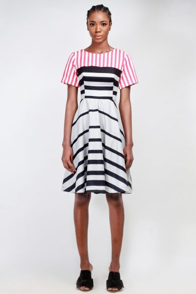 Lucy: Striped Fit and Flare Dress