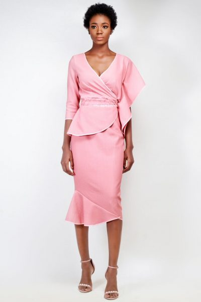 Claudette: Peach Wrap Dress with Flutter Sleeves