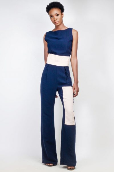 Joselyn: Navy Flared Jumpsuit with Contrast Details