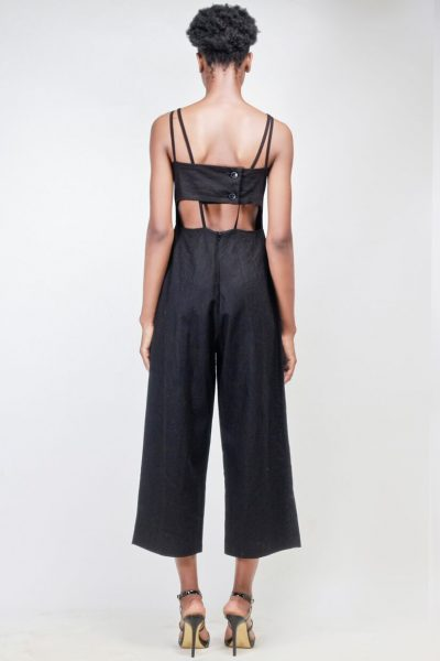 Charlotte: Black Jumpsuit with Cut-out Details at back