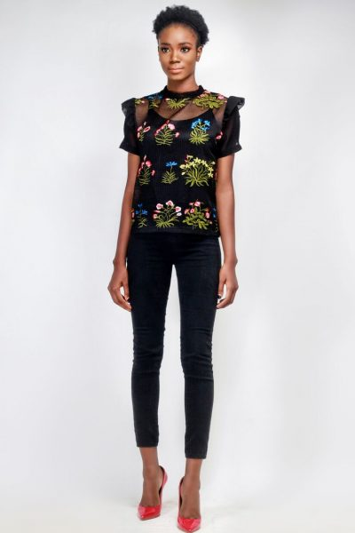 Melentu: Black Mesh Net top with Floral Embroidery