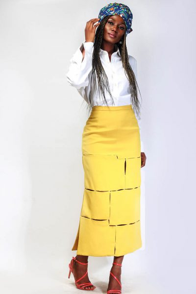 Cindy: Yellow Midi Gash Skirt