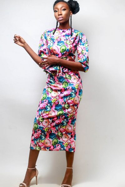 Michelle:Floral Midi Dress with Puff Sleeves