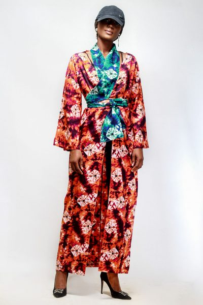 Sonia: Orange and Green Print Kimono