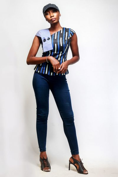 Chinny: Sleeveless Asymmetric Fitted Blue Print Top