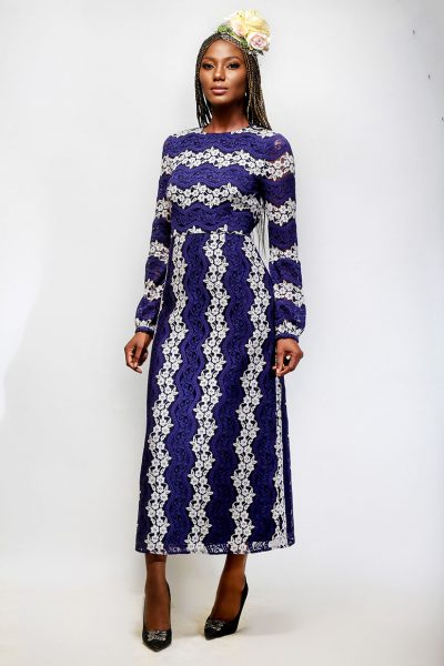 Edna: Long Sleeved Blue Lace Dress