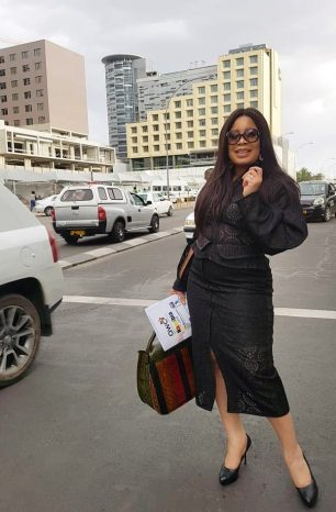 Monalisa Chinda spotted in all black in Namibia