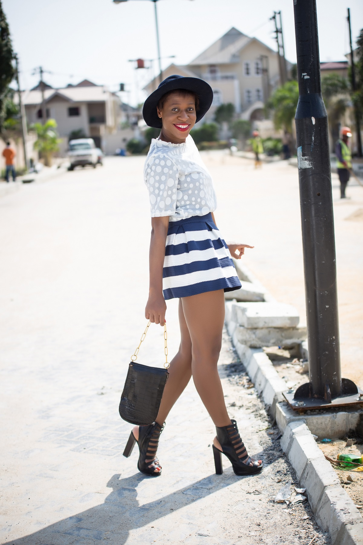 T-shirt with Spot Overlay and  Stripe Skater Skirt.. Available at Zinkata