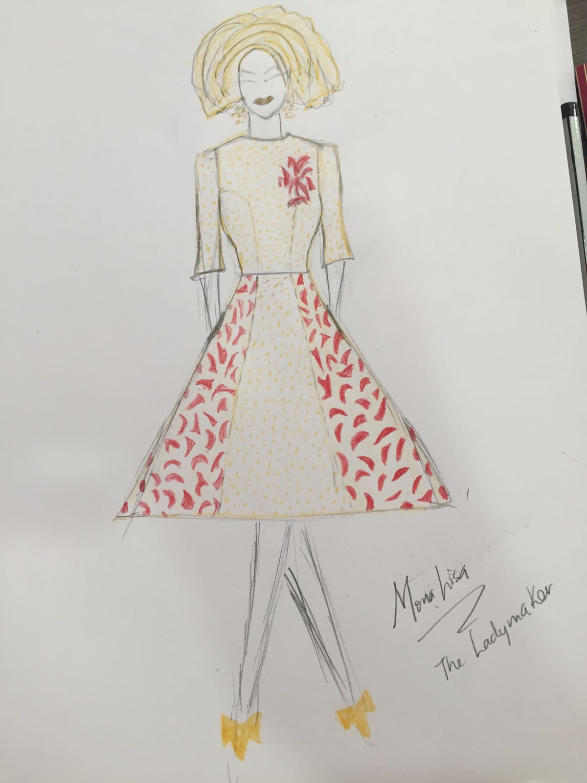 Trad-Inspiration: Monalisa Chinda's Outfit from Sketch to Reality.