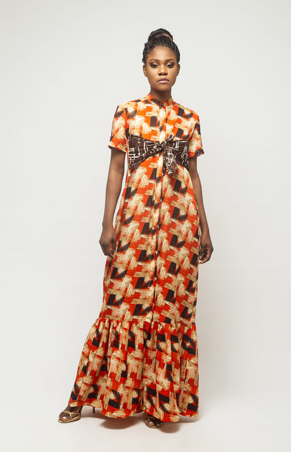Dress ankara brown print